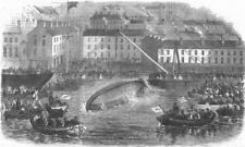 IRELAND. Upsetting trial of new lifeboat at Cobh, antique print, 1866