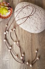 Double Stand Kangaroo Leather Necklace featuring Natural Pink Pearls