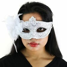 White Deluxe Fancy Dress Masquerade Lace Mask with Sequins & Flowers - Aletta
