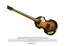 Paul McCartney's 1963 Hofner Beatle Bass & Bassman ART POSTER A3 size