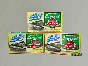 3 lattine di sardine di pesce selvatico a basso contenuto di sale in olio...