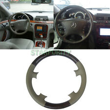 Tan Leather Wood Steering Wheel Cover f. Mercedes Benz W220 S Class W215 C215 CL