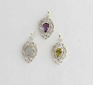 Amethyst,Moonstone,Peridot Pendant,Eddelsteinanhänger,925 Silver New