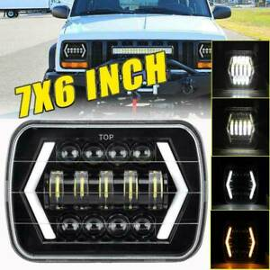 "300W 7x6 5X7"" LED H4 H6014 H6054 Headlight Low Beam Halo DRL For Jeep Cherokee"