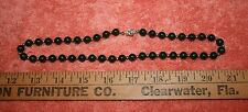 "Vintage Marked H Silver Dark Green Jade & 14K Gold Beads Necklace 18.25"""
