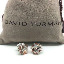 DAVID YURMAN 10mm Cable Wrap Morganite & Diamonds Earrings in Sterling Silver