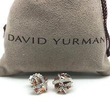 DAVID YURMAN 10mm Cable Wrap Morganite & Diamonds Earrings in Sterling Silver