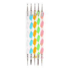 5x Nail Art Dotting Pen Crystal Marbleizing Tool Kit Set Manicure Painting 2-Way