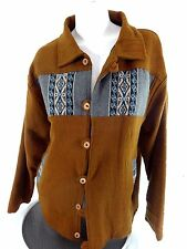 WOMENS BROWN WOOL BURLAP NATURAL FIBER JACKET SIZE L
