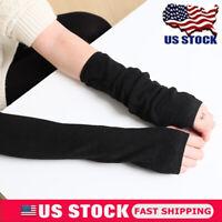 Women Winter Gloves Arm Warmer Wrist Hand Knitted Long Fingerless Gloves Mittens