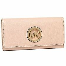 Michael Kors Fulton Flap Continental Wallet Clutch Ballet Pink Leather New NWT