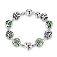Luxury Jewelry Silver Green Crystal Love Heart Charm Bracelet w All Charms