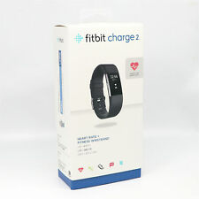 Fitbit Charge 2 Heart Rate Monitor Fitness Activity Tracker Leather Black Large