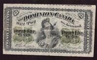 1870 Canada 25 cents banknote DC-1c shinplaster no holes no tears F15