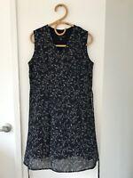WITCHERY Size 10 Navy Floral Print Sleeveless V Neck Lined Tie Waist Dress
