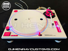 2 custom White & pink Technics SL1200 mk2's blue halos & pitch leds powder coat