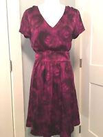 Banana Republic Sz 12 Large Sheath Dress Purple Silk Brushstroke Floral  $110
