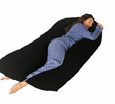PREGNANCY U SHAPE BODY SUPPORT 12FT COMFORT U PILLOW & 100% COTTON BLACK CASE