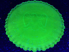 Blue Vaseline Eagle Liberty glass plate uranium jewelry tray / cobalt saucer cup
