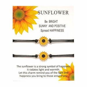 2Pcs Sunflower Daisy Love Lucky Bracelet Friendship Couple Adjustable Card Gifts