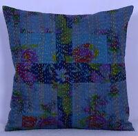"Indian Cotton Patch Kantha Work Cushion Cover Pillow Sham Decor Throw Decor 16"""