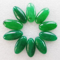 10 Pcs 30x15x6mm Incomparable Green Jade Oval CAB CABOCHON W7671
