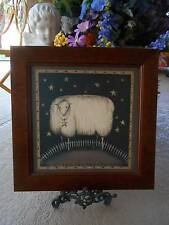 "MARY BETH BAXTER framed print folk art primitive rustic country wall decor 16""sq"