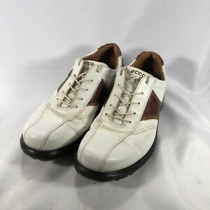 ECCO Men's 45 Golf Shoes White & Brown Leather Classic Saddle Oxfords  US 11