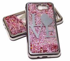 For Samsung Galaxy J7 2017 Models - Silver Love Glitter Stars Liquid Case Cover