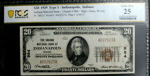$20 1929 T1  INDIANAPOLIS INDIANA NB  PCGS 25 VERY FINE CH 984 AFFORDABLE