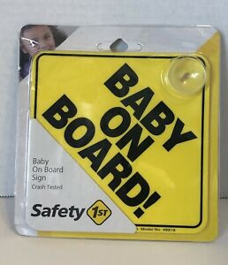Baby On Board Vehicle Car Window Yellow Sign Reusable Safety First 1st