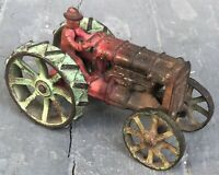 Vintage Arcade Cast Iron Farm Tractor Fordson Ford Red Green Metal Toy 1930s