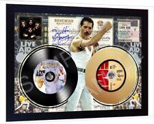 Freddie Mercury Queen Live  Mini LP and Mini Gold LP Vinyl Signed Framed