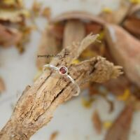 Solid 925 Sterling Silver Ring Delicate Silver Ring Handmade Garnet Stone Ring