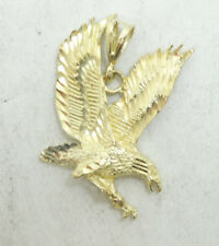 10K Yellow Gold Diamond Cut Detailed American Eagle Charm Pendant 7.4g D302