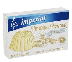 Lot de 6 boîtes d'entremet flan vanille Imperial pudding powder  NON SUCRE