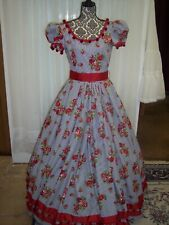 Civil War/Victorian Day Gown, of Black, White Stripe with Red Roses