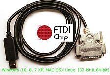 FTDI USB DB-25 Female Serial RS-232C Null Modem Full Handshake Cable Metal Hood