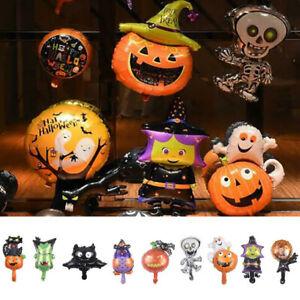9Pcs Small Halloween Foil Balloon Witch Bat Cat Pumpkin Air Fill Decoration