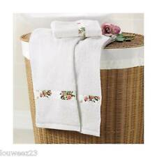 Avon Country Rosa Toalla De Mano & Manto Rostro Juego Blanco Floral detalle