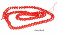 RED CORAL GEMSTONE DARK RED RONDELLE DONUT 6X3MM LOOSE BEADS 16""