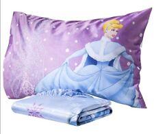 NEW NWT DISNEY Cinderella 2-PC TWIN MICRO MINK FITTED SHEET PILLOWCASE SET GIRLS