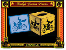Halloween Stencil~BICYCLE WITCH AND HER BLACK CAT~Classic Vintage Style Look