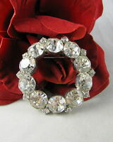 Vintage Dazzling White Prong Set Rhinestone  Brooch Pin CAT RESCUE