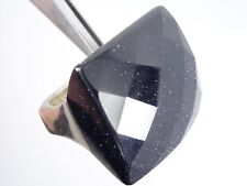 SIGNED LAURA RAMSEY STERLING FACETED CUT GEMSTONE RING ~sz 9 / 24g