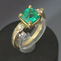 Square 1.20 Carat Emerald w/ 0.20ctw Pear Diamond Accents 14K Gold Size 6 Ring