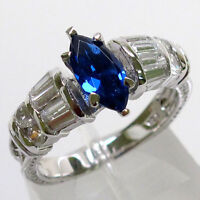 LOVELY 1 CT SAPPHIRE MARQUISE CUT 925 STERLING SILVER RING SIZE 5-10