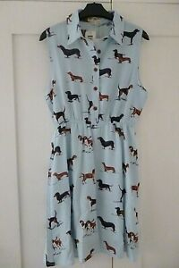 LA VIE LENTE  ladies dress, vintage/retro, dog print Pale Blue M/L (10-12), BNWT