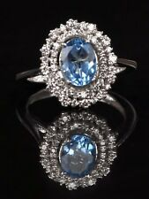Real 14KT White Gold 2.15 Carat Natural Blue Topaz IGI Certified Diamond Ring
