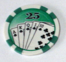 25 x Royal Flush Numbered Clay Composite 11.5gsm Poker Chips. (Green 25)